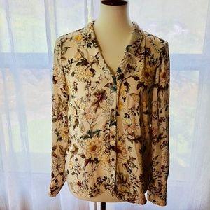 Zara Basic SZ S Beige Floral Button-Up Blouse